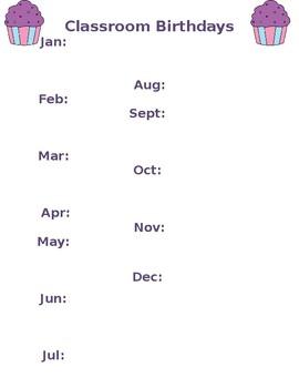Classroom Birthday List