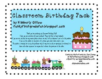 Classroom Birthday Pack
