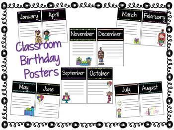 Classroom Birthday Posters