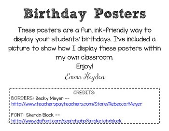 Birthday Posters for the Classroom: Ink-Friendly!