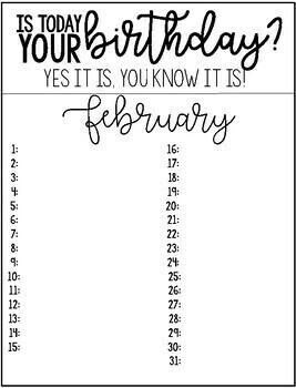Classroom Birthday Tracker