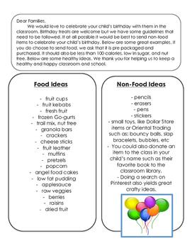 Parent Letter: Classroom Birthday Treat Ideas K-8