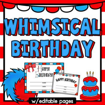 Birthday- Whimsical Theme and Editable