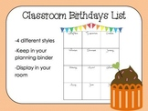 Classroom Birthdays List