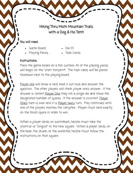 Classroom Game Boards #1 - Hiking Thru Math Mountain Trails Task Card Game