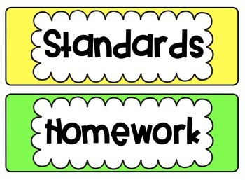 Classroom Board Titles and Labels - Rainbow Bright Version