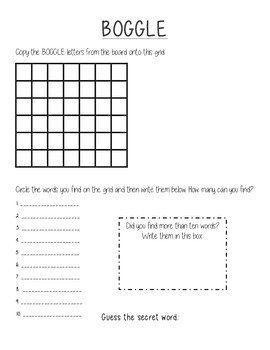 Classroom Boggle Answer Sheet