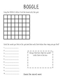Classroom Boggle Answer Sheet
