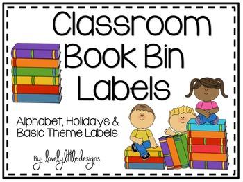Classroom Book Bin Labels : Alphabet, Holidays & Basic Themes