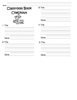 Classroom Book Check-Out Sheets