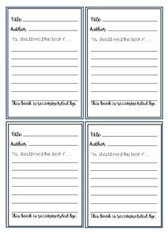 Classroom Book Recommendations and Bookmarks