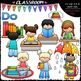 Classroom Books Do's and Don'ts Clip Art - Book Rules Clip Art & B&W Set
