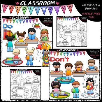 Classroom Books Do's and Don'ts Clip Art - Book Rules Clip