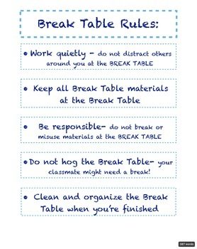 Classroom Break Table Organization