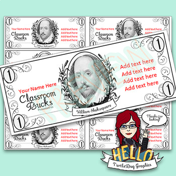 Classroom Bucks - Teacher Student Rewards Shakespeare