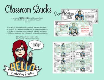 Classroom Bucks - Teacher Student Rewards -BUNDLE Odyssey Zeus Odysseus Penelope