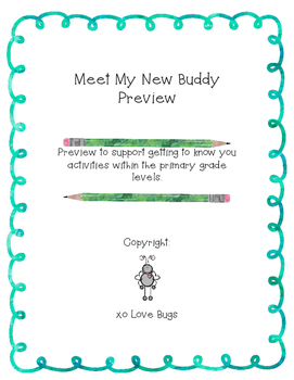 Classroom Buddies - My New Buddy Packet Preview!