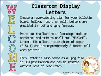 Classroom Bulletin Board Display Letters