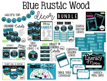 BLUE RUSTIC WOOD Theme Classroom Decor Bundle