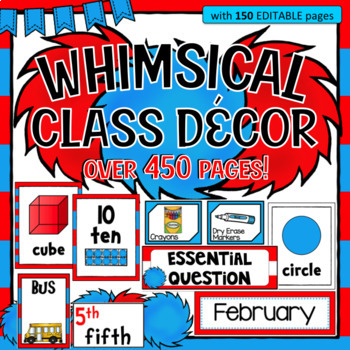 Whimsical Theme ~ Class Bundle - (Red, White, and Blue)  Editable