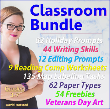 Writing Prompts + Map Labeling + Writing Skills + Editing + Reading Comp...
