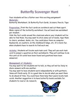 Classroom Butterfly Scavenger Hunt