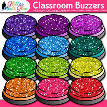 Classroom Buzzer Clip Art   Rainbow Glitter Buzzers for Educational Games