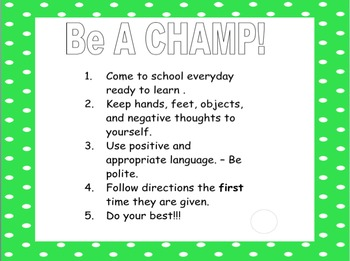 Classroom CHAMPS Posters
