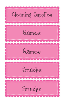 Classroom Cabinet Labels