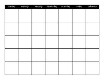 Classroom Calendar 8.5 x 11