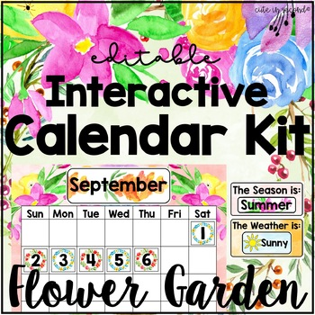 Flower Garden Classroom Calendar Bulletin Board Kit