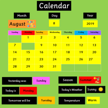 Classroom Calendar - Bulletin Board Set - Back to School