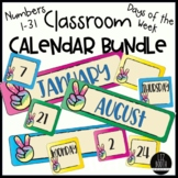 Classroom Calendar Bundle Months Numbers Days Name-tags & Tags Peace