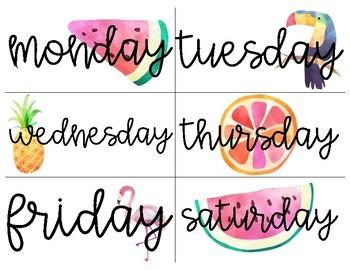 Classroom Calendar Bundle - Tropical Theme
