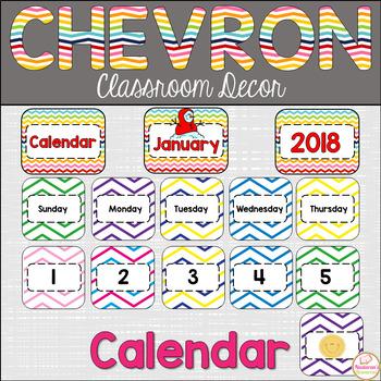 Chevron Calendar-Chevron Classroom Decor