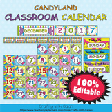 Classroom Calendar Decoration in Candy Land Theme - 100% Editble