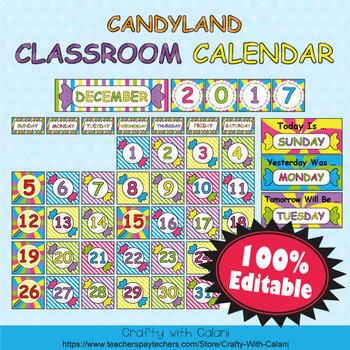 Classroom Calendar Decoration In Candy Land Theme 100 Editable