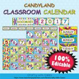 Classroom Calendar Decoration in Candy Land Theme - 100% Editable