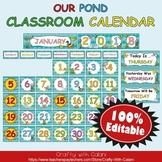 Classroom Calendar Decoration in Our Pond Theme - 100% Editble