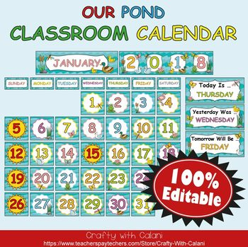 Classroom Calendar Decoration in Our Pond Theme - 100% Editble