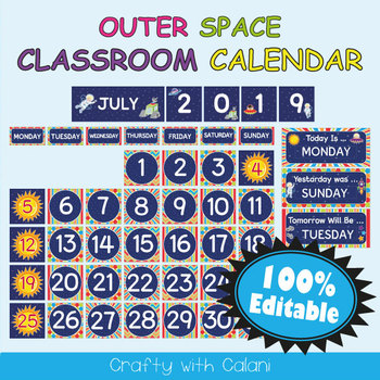 Classroom Calendar Decoration in Outer Space Theme - 100% Editble