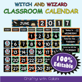Classroom Calendar Decoration in Witch & Wizard Theme - 100% Editble