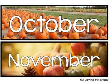Classroom Calendar Headers {featuring real life pictures}