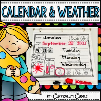 Classroom Calendar & Interactive Journal {Rainbow Dots Theme}