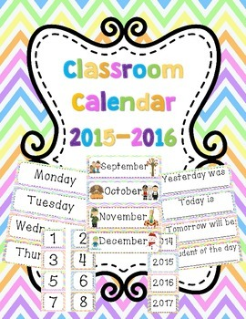 Classroom Calendar Labels Set 2015-2016 (UPDATED)