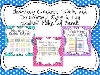 Classroom Calendar, Labels, and Table/Group Signs Bundle Polka Dot