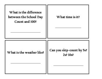 Classroom Calendar Math Tasks