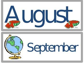 Classroom Calendar Month Labels