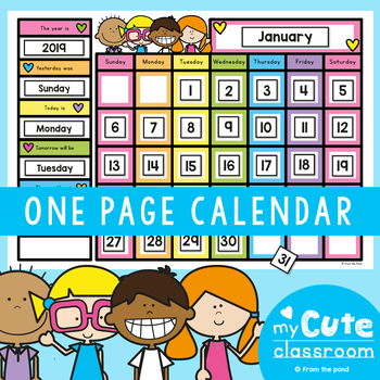 Classroom Calendar - One Page Version + Powerpoint