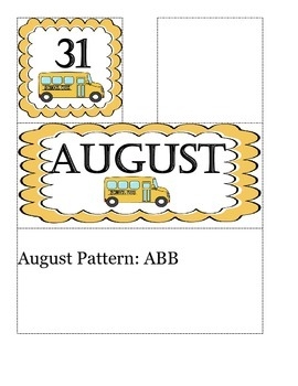 Classroom Calendar Preview Pack FREEBIE